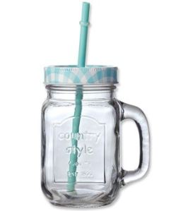 Drinkbeker Mason Jar Look Blauw