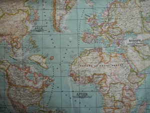 Wereldkaartstof Jan Sikkes